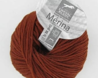 natural wool 100% Merino Wool, MERINA rust color No. 142 white horse