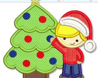 TREE TRIMMING BOY Applique 4x4 5x7 6x10 Machine Embroidery Design Christmas Holiday