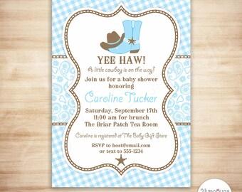 Cowboy Baby Shower Invitation - Baby Blue Paisley Baby Shower Invitation - Western Baby Boy Shower - PERSONALIZED, PRINTABLE