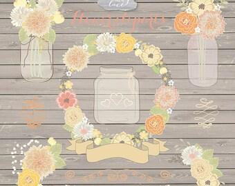 Vector Rustic wedding clipart, shabby chic clipart, Hand Drawn clipart,wedding clipart, flower clipart, wood digital paper