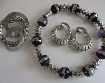 Space Soiree:  3 piece set; Silver & crystal Bracelet, clip-back earrings, brooch. Estate sale vintage jewelry, MS148
