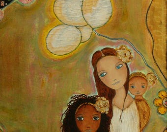 Mother with Daughters  - ACEO Giclee print mounted on Wood (2.5 x 3.5 inches) Folk Art  by FLOR LARIOS