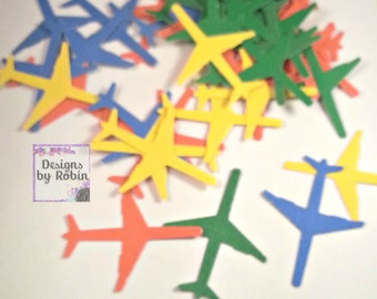 100 Pick your color - Airplane punch out die cuts Confetti - Plane Cut Outs - Flying Die Cuts - Boy Plane Die Cuts - Little Man Party