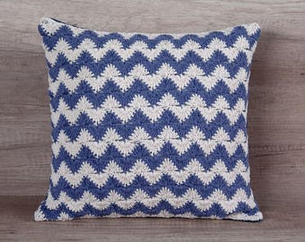 Crochet pillow navy throw pillow covers euro sham, chevron pillow, soft cotton decorative case for couch pillow 16 x 16 (40 x 40 cm)
