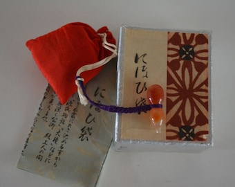 Perfumed silk sachet, nioi-bukuro pouch with agate charm, boxed