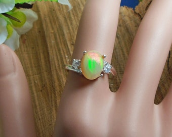 Ethiopian Fire Opal 2 Birthstone Accent Gems Ring, Solid Sterling Silver, 1.40 Cts 11 x 8.5 mm Natural AAA+++ Ethiopian Opal