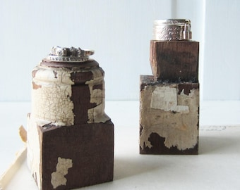 Pair Petite Ring Displays - Architectural Salvage - Jewelry Display Block - Dark Walnut with Chippy White Paint -  Quantities Available