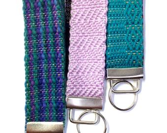 "Budget Friendly Woven Gifts for Mom   ""Sedona"" Vibrant Woven Bracelet Fobs   Handwoven Boho Keychain Gift Trio   Wristlet Key Chain Set of 3"