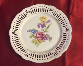 """Vintage schwarzenhammer Bavaria Germany US Zone Lattice 6 3/4"""" Plate"""