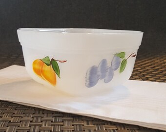 Vintage Fire King Gay Fad Fruit Milk Glass small square bowl 1950's Grapes and Peaches