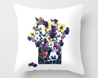 Outdoor Pillow Cover with Pillow Insert, Outdoor Pillow Cover, A Pot of Pansies for Spring