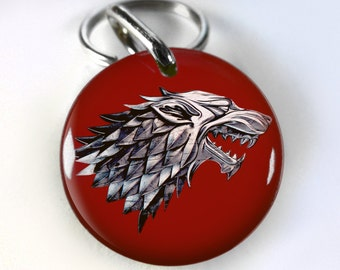 Game Thrones Stark Deep Red pet id tag dog tag cat pet tag - 4 sizes available