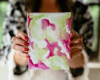 Pink and Lime Green Watercolor Painting