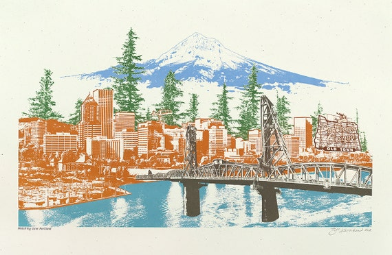 Watching Over Portland Art Print - 12.5x19 - Photo Illustration