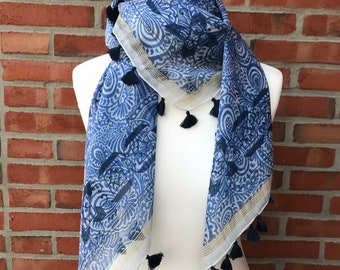 Cotton Silk printed scarf with tassels, gift, fashion, Eco-friendly, luxurious, bohemian, seasonal, chic, blue, sport