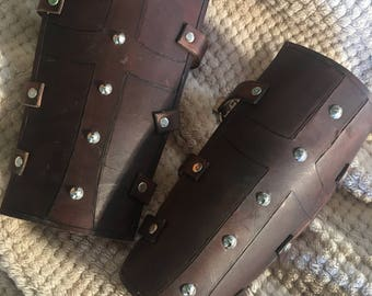 Leather greaves, larp, live action rollplay