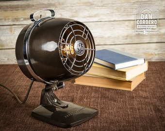 Vintage Fan Heater Table Lamp - Desk Lamp - Bed light - Night Light - Industrial Light - Lamp - Steampunk - Lamp - Lighting - Fan