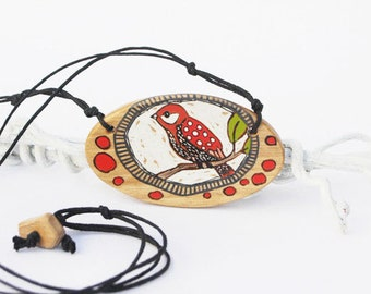 Bird Necklace, Hand Painted Bird on Wood, Oval Necklace Boho Gift, Bird Lover Gift, Nature Inspired Gift for Her, Gift for Wife, Bird Gift