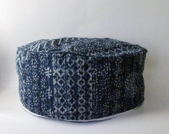 24 inch diameter round Pouf Floor Cushion Cover,Indigo Blue Kantha.Floor pillow,India arts,handicrafts,Indian floor pouf.