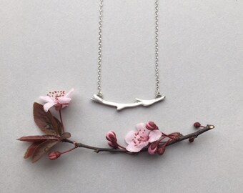 Silver Branch Pendant, Twig Necklace, Modern Minimalist Bar Necklace, Botanical Spring Jewelry, Mother's Day Gifts, Nature Accessory Gift