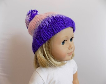 Purple Doll Hat, Knit Doll Beanie, 18 Inch Doll Hat, Ski Hat for Dolls, Purple and Pink Cap, Toys, Doll Clothes, Dolls