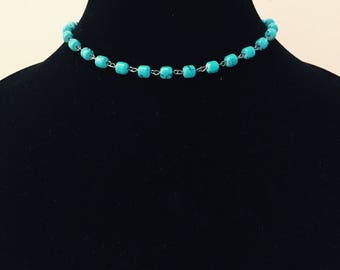 Turquoise Beaded Choker, Silver Necklace, Blue Necklace, Hippie Jewelry, Boho Jewelry, Bohemian Jewelry, Layered Necklace