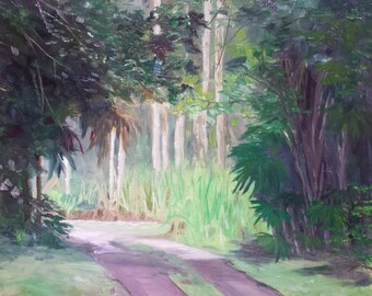 Original oil painting by Laura campos// jungle landscape painting//tropical painting// housewarming gift//beach house//jungle//wall art