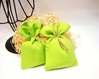 Natural Linen green favor bags Wedding favor bags Linen gift bags Baby shower bags  Small linen bags Party supplies