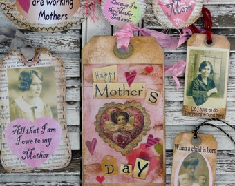 Mothers Day Mom Tags PDF collage sheet