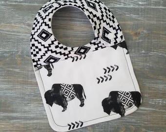NEW: Infant Drool Bib- Aztec Buffalo