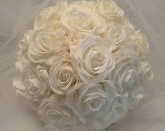 Simply White, White Roses, All White Bouquet, real touch roses, white bridal bouquet,  white wedding bouquet,