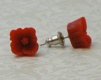 Square Flower Earrings - Red