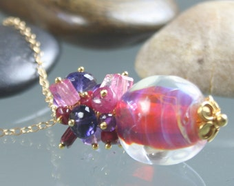 necklace - boro borosilicate lampwork nugget bead - ruby - pink tourmaline - amethyst - iolite - gold