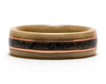 Maple Wood Ring Inlaid With Black Agate And Copper, Bentwood Ring, Wooden Ring
