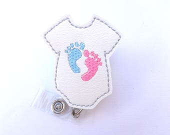 Retractable badge holder - Baby Love - white marine vinyl bodysuit with baby feet - pediatrician nurse labor delivery midwife - badge reel