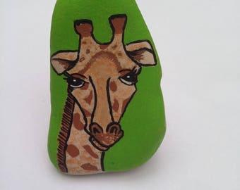handmade painted giraffe Pebble