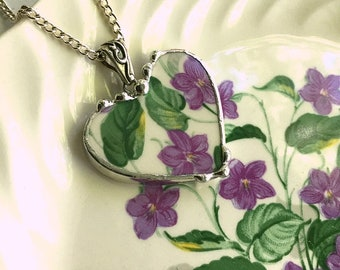Broken china jewelry, heart pendant necklace, purple lavender flowers, floral heart, violet chintz, violets, Dishfunctional Designs