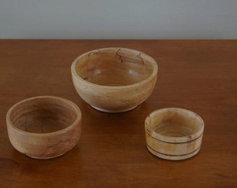nesting bowls of spaltedmaple