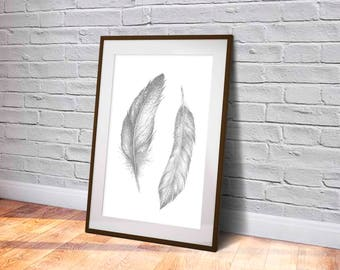 FEATHER Art PRINT, Grey Feather Pencil Drawing, Two Feathers Drawing, Gift Digital Download, Feathers Art Drawing