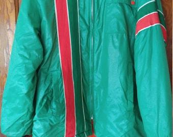 Vintage retro SWINGSTER racing jacket green nylon orange acrylic