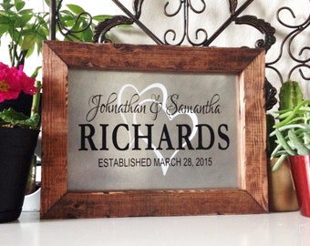 Wood And Metal Personalized Wedding Sign, Family Name Sign, Rustic Wood Wedding Sign, Unique Wedding Gift For The Couple, Wedding Date Sign