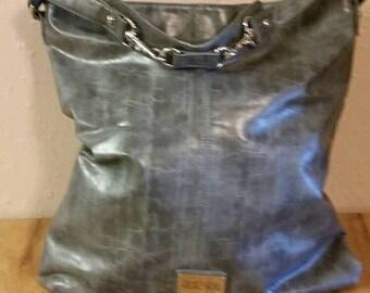 On Sale Estate Find Large Kenneth Cole Reaction  Steel Gray Leather Large Shoulder Bag Fashion Accessory Travel Case
