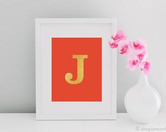 Monogram Letter or Initial Gold Foil Print - Office Decor, Modern, Stylish, Art Print, Home Decor, Typography, Lettering Print, Wall Art