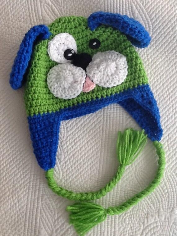 Crochet Puppy Dog Hat With Fleece Lining Child Animal Hat
