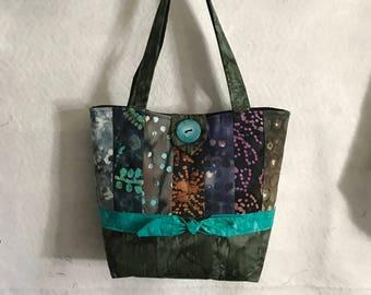 Batik Tote Bag, Quilted Bag, Pocketbook, Purse, Clothe Bag