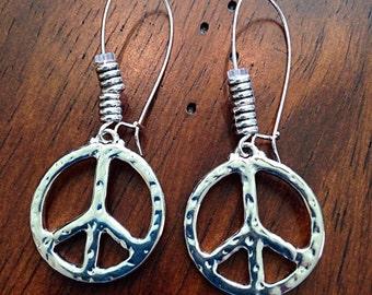 Earrings, Hippie Earrings, Peace Sign Earrings, Earrings, Peace Sign Jewelry, Yoga Earrings, Silver Charm Earrings