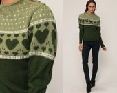 Heart Sweater 80s Pullover PUFF SLEEVE Sweater Jumper Knit Retro Hipster Kawaii Olive Green Sweater Boho Slouchy 1980s Vintage Medium
