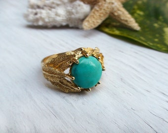 Turquoise Leaf Ring Natural Stone Boho Chic Jewelry Gift for Her