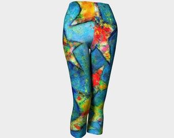 Stars Capri Leggings Yoga Leggings Pants Colorful Yoga Legging Summer Clothes Summer Capris Wearable Art Festival Clothes Boho Birthday Gift