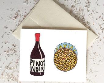 Pinot Noir Caviar Titus Andromedon Unbreakable Kimmy Schmidt Card // Blank Inside // Quirky Funny Cards // Spring Summer Birthday Graduation